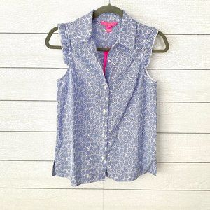 Lilly Pulitzer Lenox Stripe Floral Eyelet Top NWT